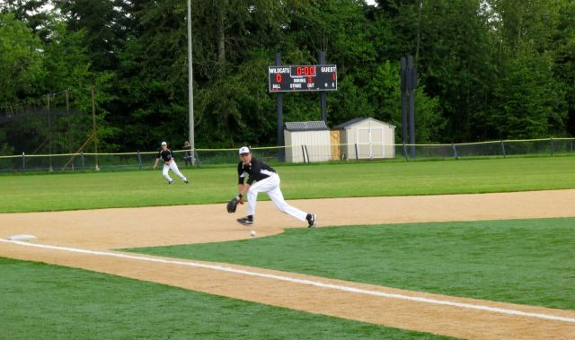 "Jeff handling a grounder at the ""hot corner"""